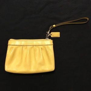 ⭐️ 2/$20 Coach Yellow Patent Leather Wristlet